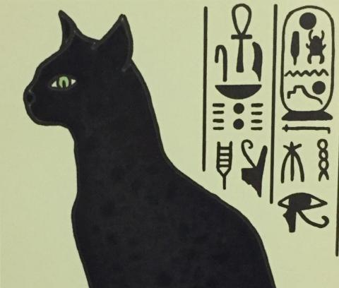 I'm a black Egyptian cat.